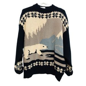 Vintage Knit Polar Bear Oversized Sweater Navy  L